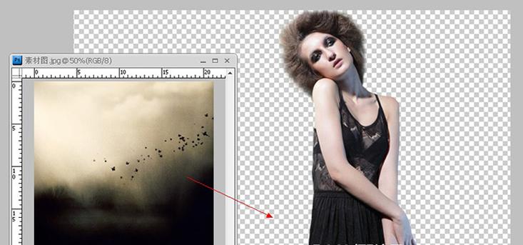 用液化工具,把新图层的模特身体修饰一下