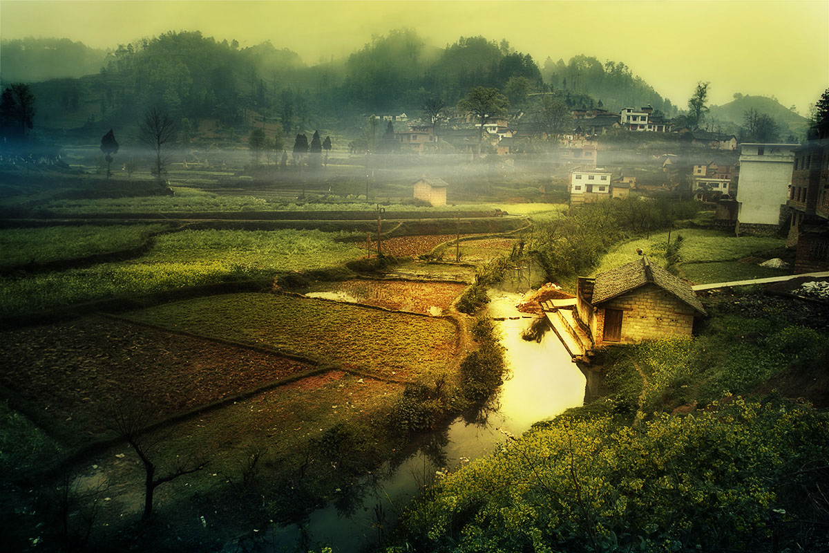 photoshop把田园风景转为唯美的油画效果